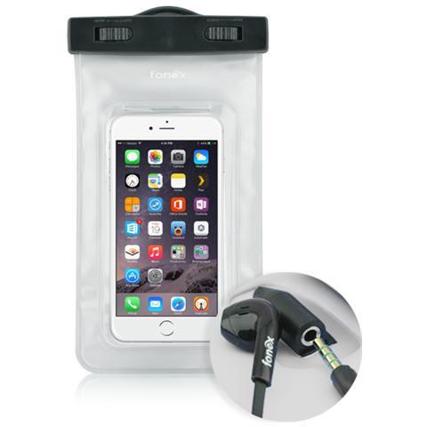 "FONEX Custodia Waterproof Audio per Dispositivi 3""- 6"" con Jack 3,5 mm Colore Trasparente"