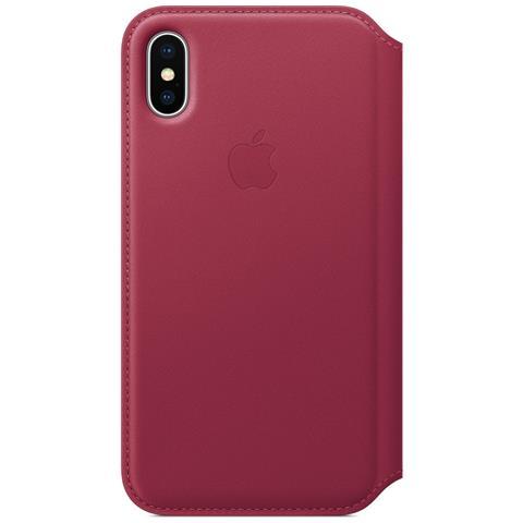 APPLE Flip Cover Custodia in Pelle per iPhone X Colore Lampone