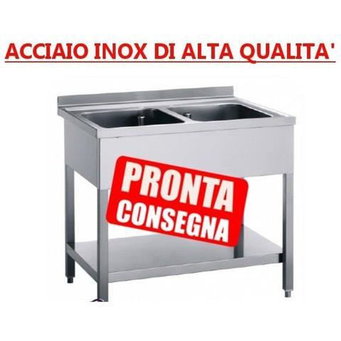 Lavatoio A 2 Vasche Aperto In Acciaio Inox Senza Sgocciolatoio - Prof. 70