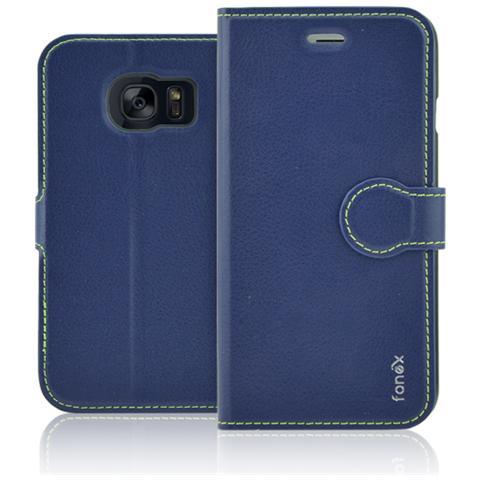 FONEX Identity Book Custodia a Libro per Galaxy S7 Edge Colore Blu