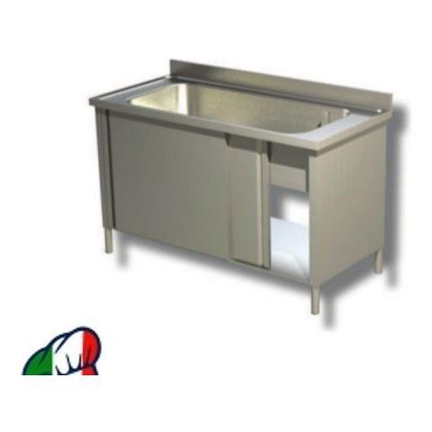 Lavapentole Inox Ad 1 Vasca Chiuso Con Scorrevoli. Prof. 60 Cm. Eco