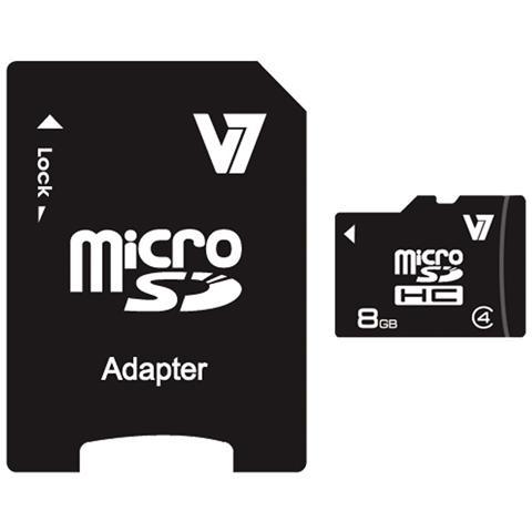 V7 microSD High Capacity (microSDHC) V7 8 GB - Classe 4 - 10 MBps Lettura - 4 MBps Scrittura - 1 Scheda / 1 Pacco