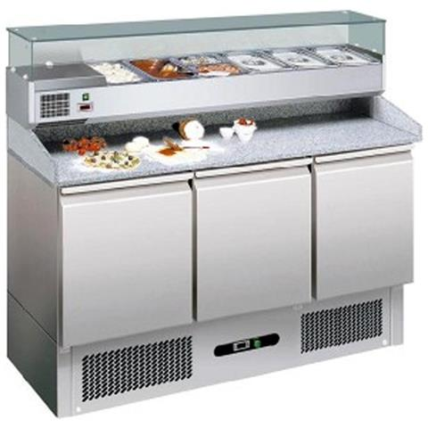 Banco Pizza Refrigerato Con Piano In Granito E Vetrina Portacondimenti (gn 1/4). Cm. 140 - Profondità Cm. 70