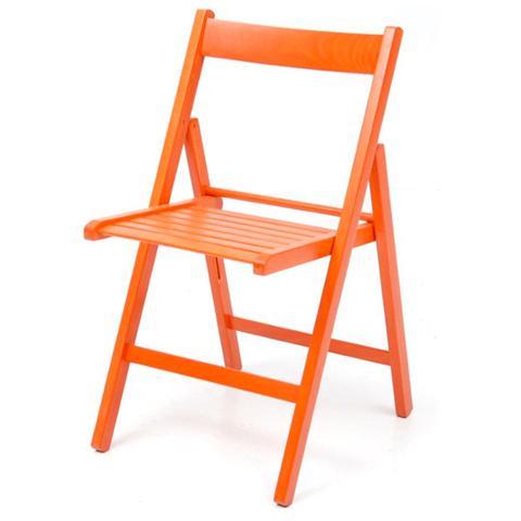Sedie pieghevoli in legno di faggio 6 pz da giardino colore Arancio