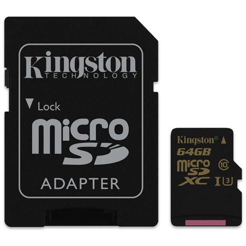 KINGSTON MicroSD da 64GB UHS-1 classe 3 + Adattatore incluso