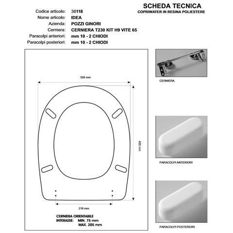 Copriwater Pozzi Ginori Idea Daino Cerniera Rallentata Soft Close Cromo-sedile-asse Wc