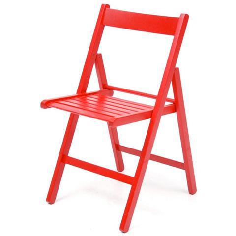Sedie pieghevoli in legno 6 Pz per giardino colore rosso