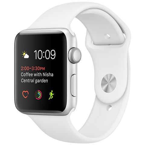 APPLE Watch Serie 1 Cassa 42 mm in Alluminio Colore Argento e Cinturino Sport Bianco Bluetooth e Wi-Fi