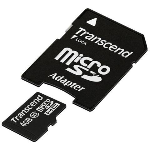 TRANSCEND Scheda di memoria MICRO-SDHC con Adattatore