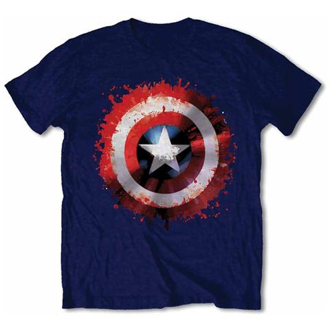 ROCK OFF Marvel Comics - Captain America Splat Shield (T-Shirt Unisex Tg. 2XL)