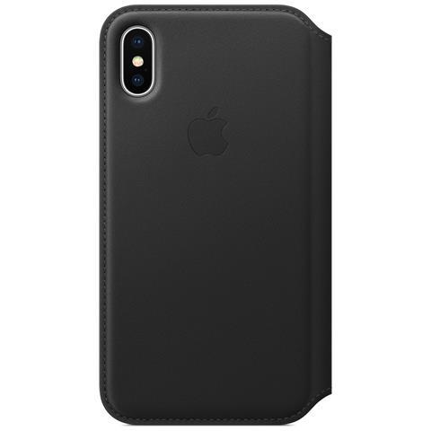 APPLE Flip Cover Custodia in Pelle per iPhone X Colore Nero