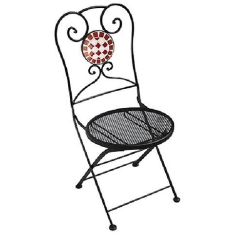 Sedia per esterni pieghevole in metallo con inserto in ceramica