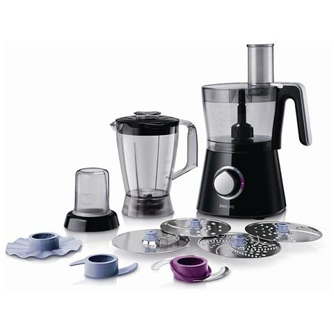 HR7762/90 Viva Collection Robot da Cucina Capacità 2 Litri Potenza 750 Watt con Frullatore e Mini Tritatutto Colore Nero
