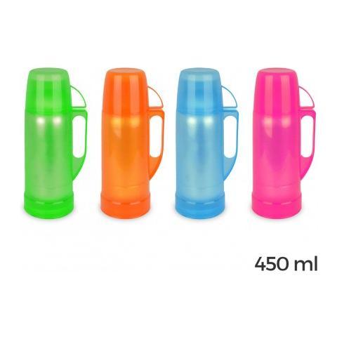 059180 Thermos Per Bevande Rivestito In Plastica Colorata 450 Ml - Rosa