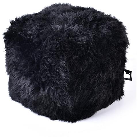 B-BAG Pouf Indoor B-box In Pelliccia Di Pecora Black