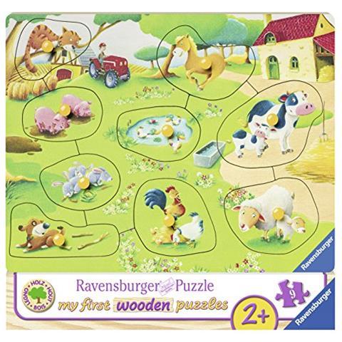 RAVENSBURGER RVB03683 My first wooden puzzle - Piccola Fattoria - 10 Pezzi