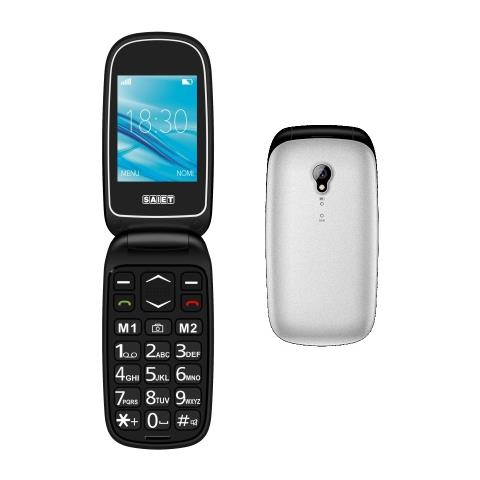 "SAIET Basic Senior Phone Dual Sim Display 2.4"" Micro SD Bluetooth con Tasti Grandi + SOS Fotocamera Colore Argento"
