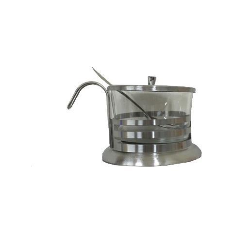 Zuccheriera O Formaggiera 220 Ml Con Cucchiaio Coperchio In Acciaio Inox E Vetro Formaggio Grattugiato Zucchero Porta Design