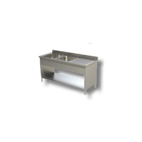 Lavello 140x60x85 Acciaio Inox 430 Su Fianchi Ripiano Cucina Ristorante Rs4801