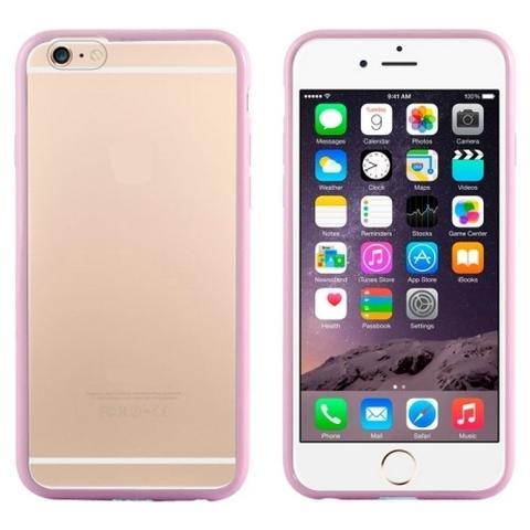 Network Shop Custodia In Tpu Con Bumper Rosa E Plastica Posteriore Clear Per Iphone 6 - 6s