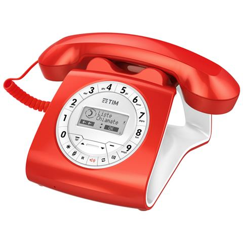 TIM Sirio Telefono di Casa Classico Colore Rosso-Tim Italia