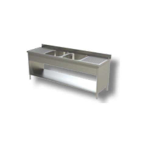 Lavello 220x60x85 Acciaio Inox 430 Su Fianchi Ripiano Cucina Ristorante Rs4810