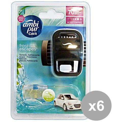 Ambi Pur Set 6 Auto Base Aqua Deodorante Accessori Auto E Moto