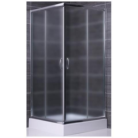 Image of Box doccia 70x70 apertura angolare due lati in cristallo opaco