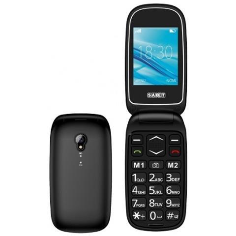 "SAIET Basic Senior Phone Dual Sim Display 2.4"" Micro SD Bluetooth con Tasti Grandi + SOS Fotocamera Colore Nero"
