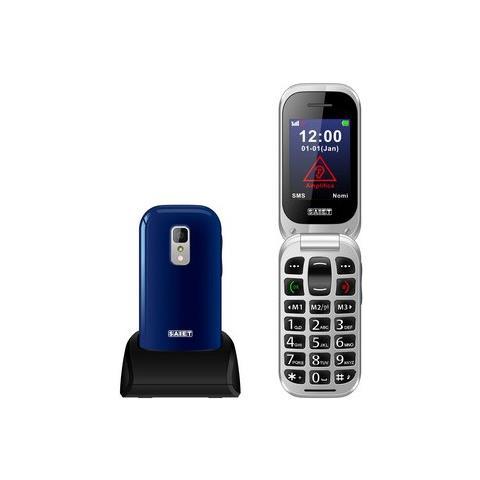 "SAIET Unico+ Senior Phone Display 2.4"" + Slot MicroSD Tasti Grandi e SOS Fotocamera Colore Blu Lucido - Italia"