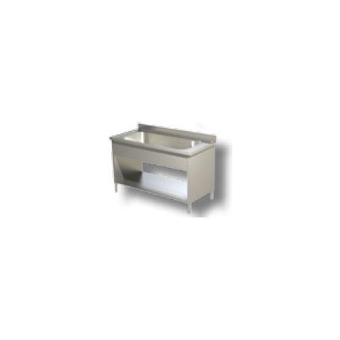 Lavello 140x60x85 Acciaio Inox 430 Su Fianchi Ripiano Cucina Ristorante Rs4814
