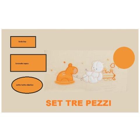 WILLY Lenzuola per Culla da 3 Pezzi con Cavallino Arancione