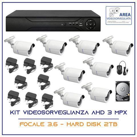 Image of Kit Videosorveglianza Ahd 8 Telecamere Ahd Infrarossi 3 Mpx Ip P2p Dvr Hd 2tb