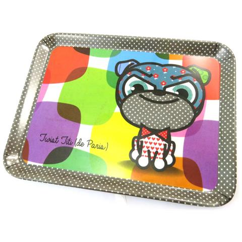 Les Trésors De Lily piccolo vassoio 'chien et chat lolita' bulldog multicolore (24x18 cm) - [ n5480]