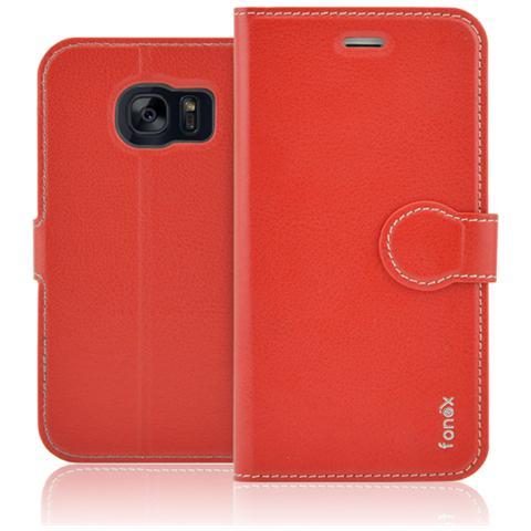 FONEX Identity Book Custodia a Libro per Galaxy S7 Edge Colore Rosso