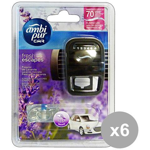 Ambi-Pur Set 6 Auto Base Lavanda-vaniglia Deodorante Accessori Auto E Moto
