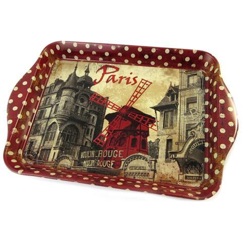 vassoio di metallo piccolo 'moulin rouge' rosso marrone - 21x14 cm - [ p1109]