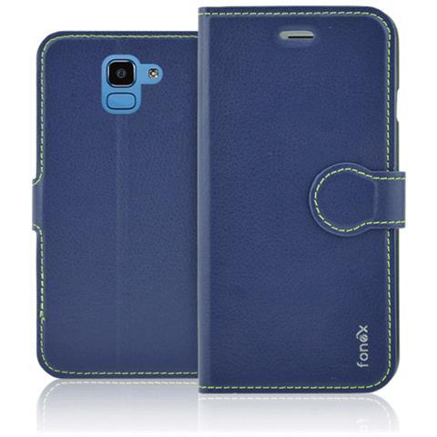FONEX Identity Book Custodia a Libro per Samsung Galaxy J6 Colore Blu