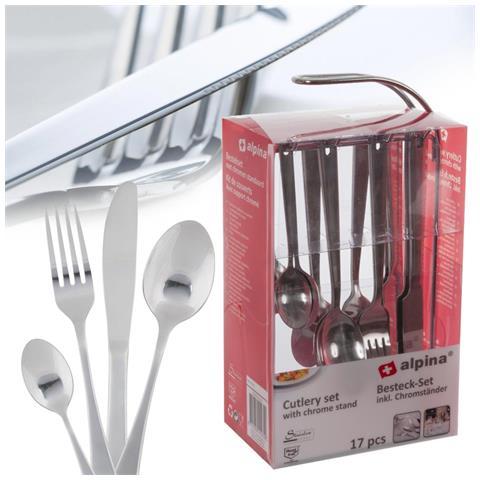 Set Di Posate Acciaio Inox 16 Pz + Stand Coltelli Forchette Cucchiai Cucchiaini