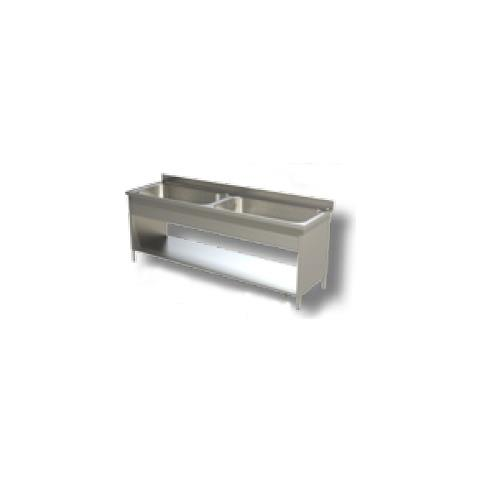 Lavello 200x60x85 Acciaio Inox 430 Su Fianchi Ripiano Cucina Ristorante Rs4820