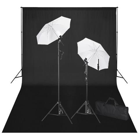 Set Studio Fotografico: Fondale Nero 600x300 Cm E Luci