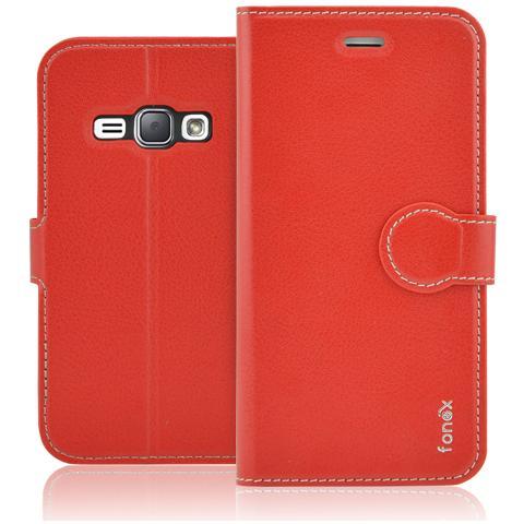 FONEX Identity Book Custodia a Libro per Galaxy J1 (6) Colore Rosso