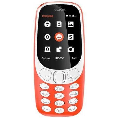 "NOKIA 3310 Rosso Dual Sim Display 2.4"" +Slot MicroSD con 3G + Bluetooth RadioFM e Fotocamera 2Mpx - Italia"