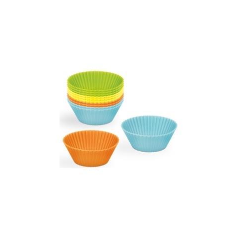 24805 Extragourmet Set 12 Pezzi In Silicone Cupcakes-assorted Colori, Multicolore