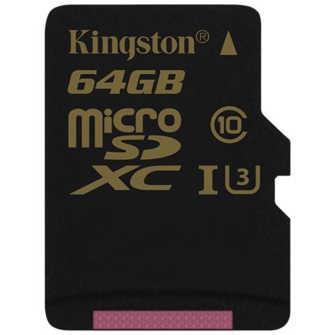 KINGSTON MicroSD da 64GB UHS-I classe 3 Adattatore incluso