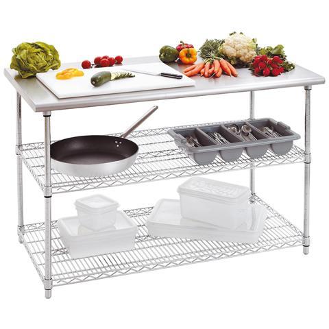 601153 Tavolo da lavoro da cucina 130x69 cm H88-90 capacità 250 kg