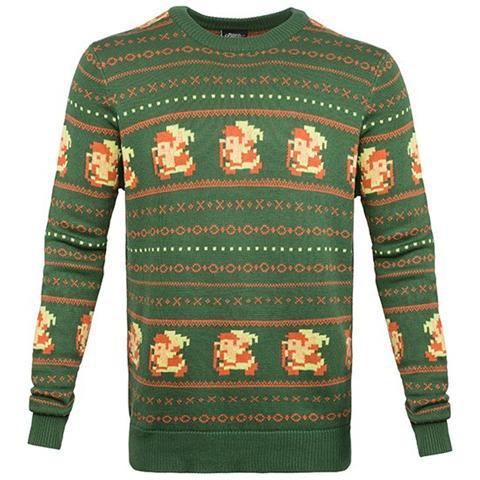 BIOWORLD Nintendo - Zelda Christmas Sweater Green (Maglione Unisex Tg. XL)