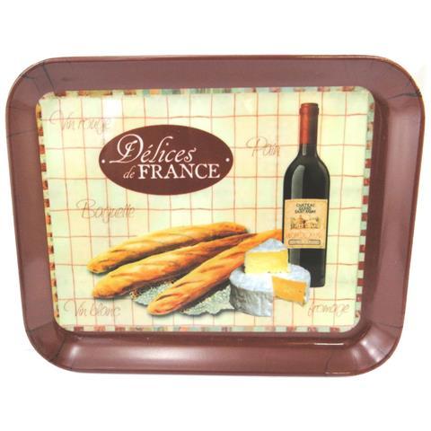 piccolo vassoio 'terroir français' beige marrone (15x20 cm) - [ m3373]
