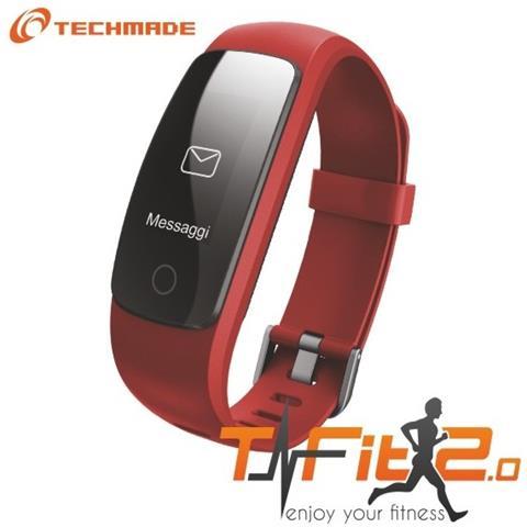 """Techmade Activity Tracker T-Fit 2.0 Resistente all'acqua IP67 Display 0.96"""" Bluetooth con GPS e Cardiofrequenzimetro Rosso – Italia"""