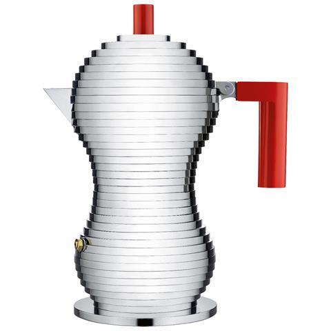 Caffettiera Espresso Pulcina Rosso 6 Tazza Alluminio Induzione